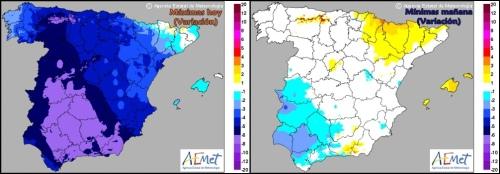 Variación de Tª prevista para las máximas de hoy y mínimas de mañana (AEMET)