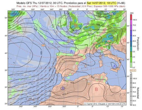 Situación prevista en superficie por el modelo GFS para las 18h del sábado
